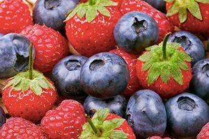 Nutrition food strawberries blueberries raspberries