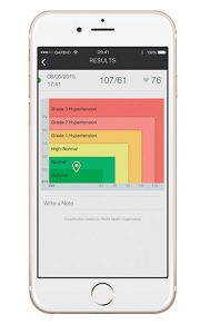 QardioArm smart blood pressure monitor - WHO chart