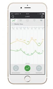 QardioArm smart blood pressure monitor reading