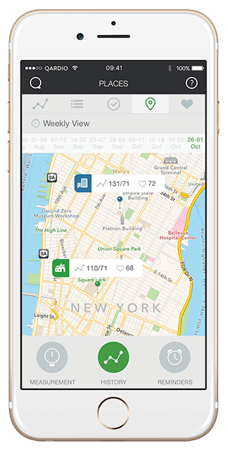 blood pressure app -geo-track readings